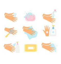 Hand hygiene icons set vector