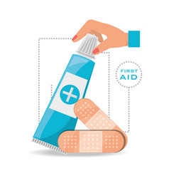 Hand with ointment and medical band aids vector