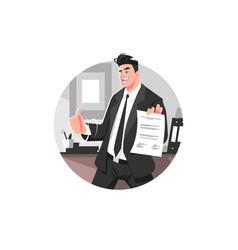 Happy businessman in suit vector
