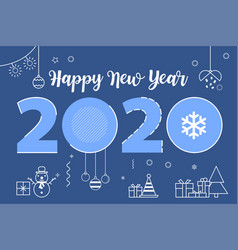 happy new year 2020 line design vector image