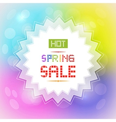 Hot Spring Sale Tag on Colorful Background vector image