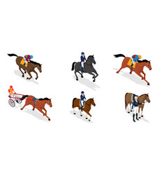 Isometric set jockey on horse vector