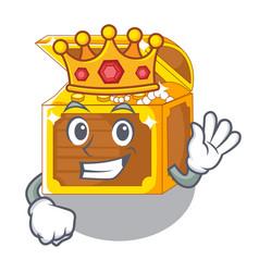 King miniature underwater treasure above cartoon vector