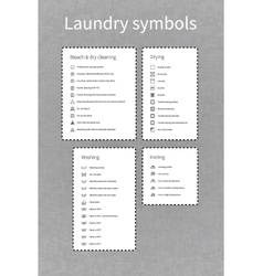 Laundry symbols labels on gray background vector