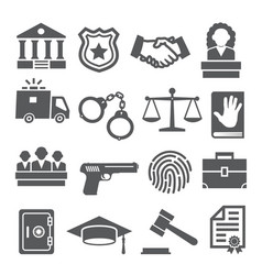 law icons set on white background vector image