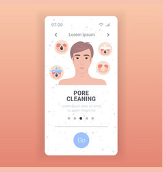Man cleaning pore facial cleansing procedure vector