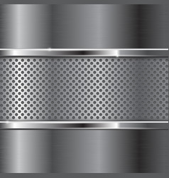 Metal background with perforated section vector