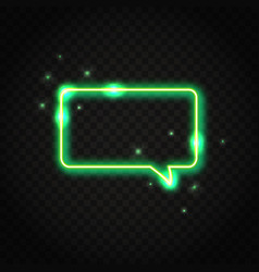Neon green rectangle speech bubble with space for vector