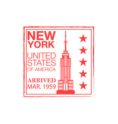 new york arrival ink stamp on passport vector image