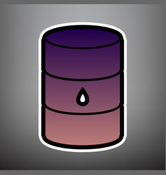 oil barrel sign violet gradient icon with vector image