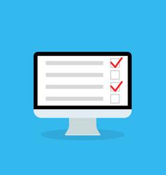 online survey in computer list in form quiz vector image