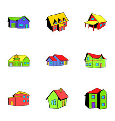 Property icons set cartoon style vector
