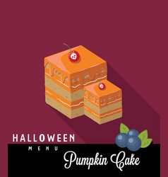 Pumpkin cake halloween menu vector