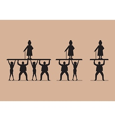 Ratio workers to pensioners in silhouette vector