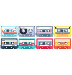 retro music cassette stereo dj tape vintage 90s vector image