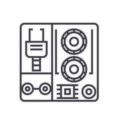 Robot industrial kits line icon sign vector