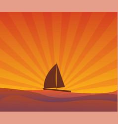 Sailing yacht on the horizon sun rays vector