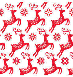 Scandinavian folk art christmas pattern vector