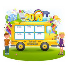 School bus with school timetable vector
