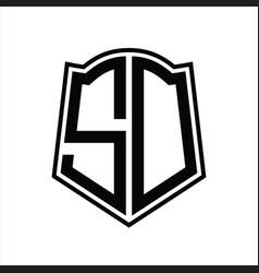 Sd logo monogram with shield shape outline design vector