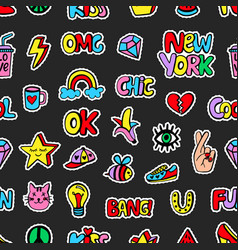 seamless pattern with fashionable patch badges set vector image