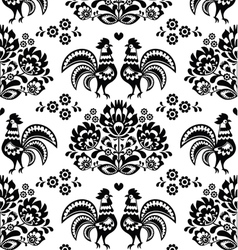 Seamless Polish Slavic black folk art pattern vector image