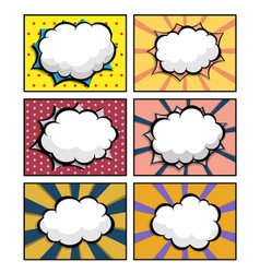 set comic book pop art with blank speech bubble vector image