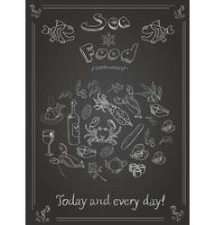 Set hand drawn seafood on blackboard vector
