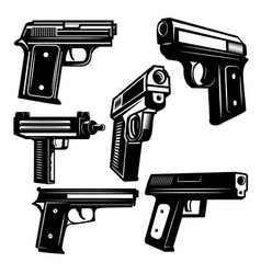 Set handguns isolated on white background vector
