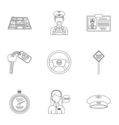 set of icons about the taxi a call taxi driver vector image