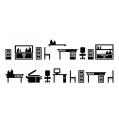 Set of office furninure icons pictograms vector