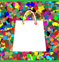 shopping bag white icon on vector image