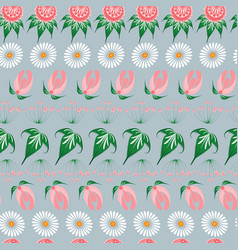 Slavic seamless pattern of fairy tale flowers in vector