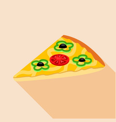 slice of vegetarian pizza icon flat style vector image