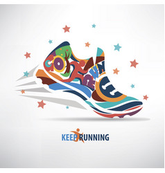 sneaker stylized symbol running concept vector image