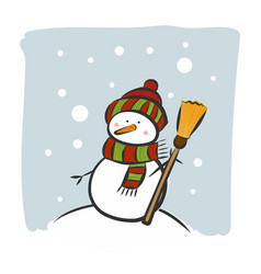 snowman on a snowy winter day vector image