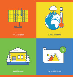 Solar energy global warming smart house vector