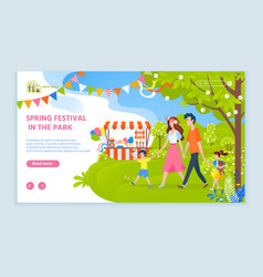 spring festival in park family website with text vector image