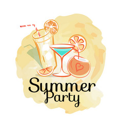 summer party poster with cocktails invitation card vector image