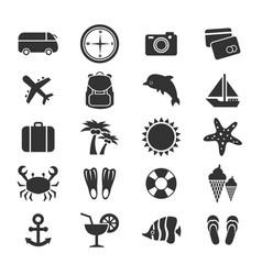 Summer vacation or travel icons collection vector