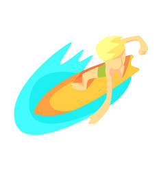 Surfer on surf board from above part of teenagers vector