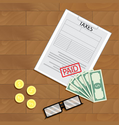 tax paid view top vector image