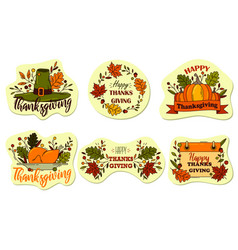 thanksgiving or holiday labels sticker set vector image
