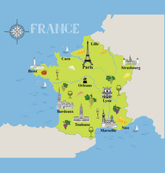 touristic map of france travel gastronomic vector image