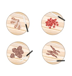 Variety of Raw Meat on Cutting Boards vector
