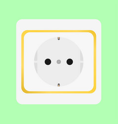 White socket with gold insert on green wall vector