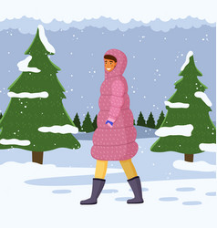 Woman in warm coat walking alone outdoor in cold vector