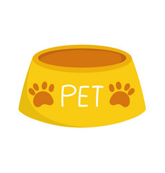 yellow pet bowl food cartoon isolated white vector image