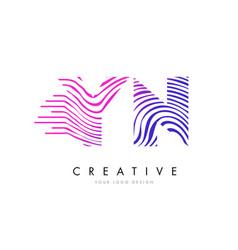 yn y n zebra lines letter logo design with vector image