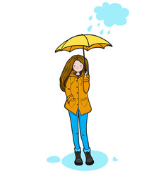 Young woman is enjoying rainy weather vector